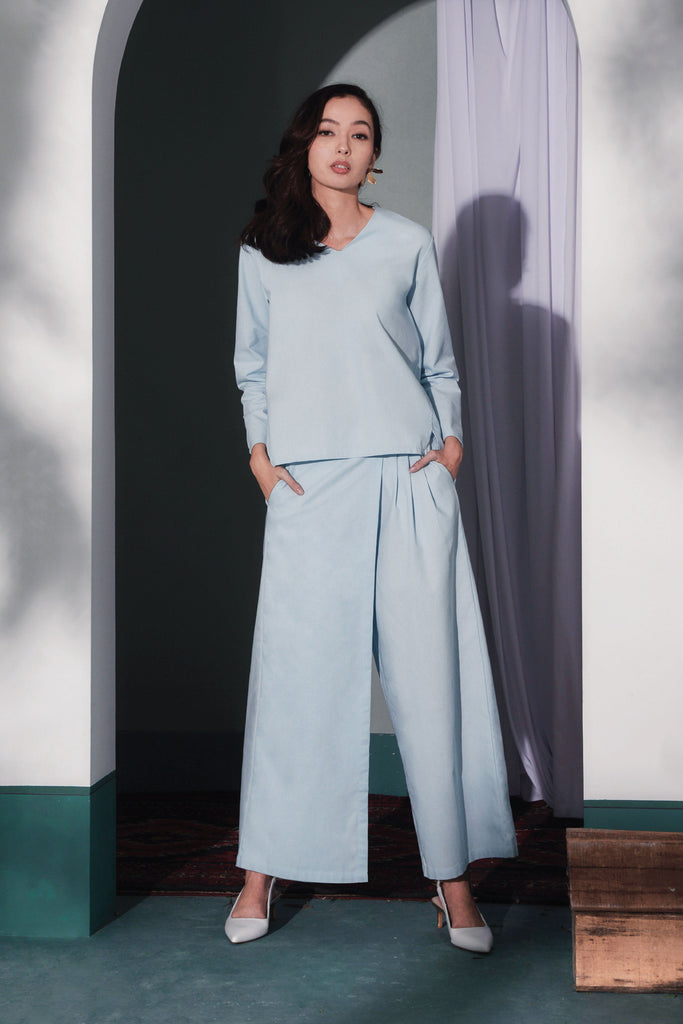 The Bayang Women Overlay Trousers - Light Blue