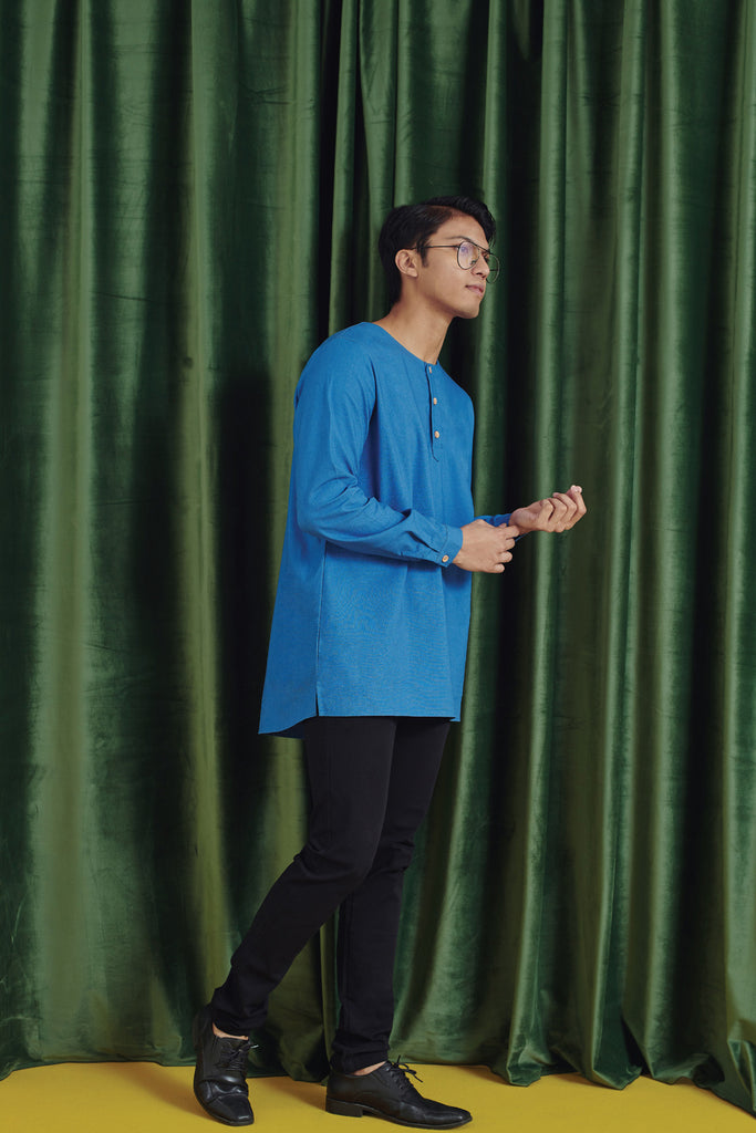 The Rona Men Kurta - Steel Blue