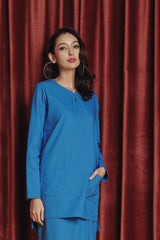 The Rona Women Kurti - Steel Blue