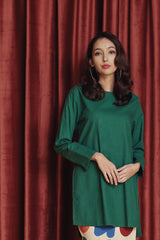 The Rona Women Kurung Blouse - Dark Green
