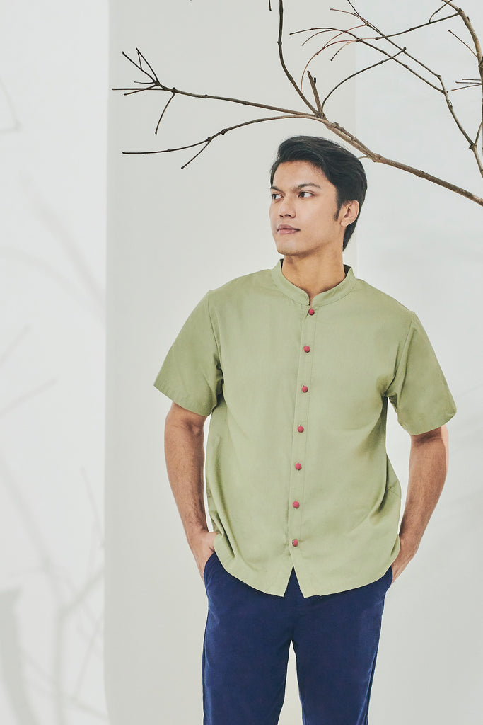 The Timur Men Oriental Shirt - Olive