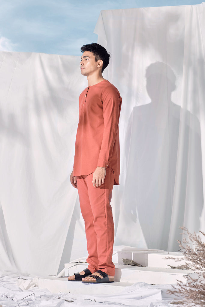 The Langit Men Kurta - Terracotta