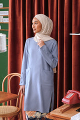 The Sungai Women Pockets Kurung Blouse - Light Pigeon Blue