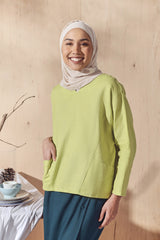 The Balik Women Dolman Sleeve Blouse - Lime Green