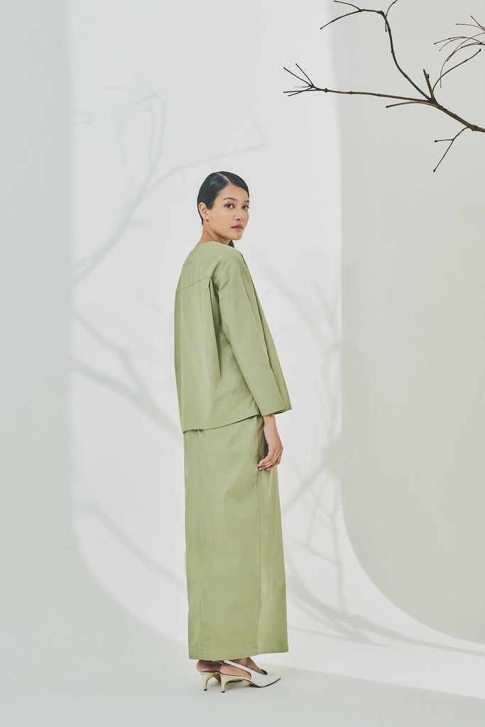 The Timur Women Wrapped Blouse - Olive
