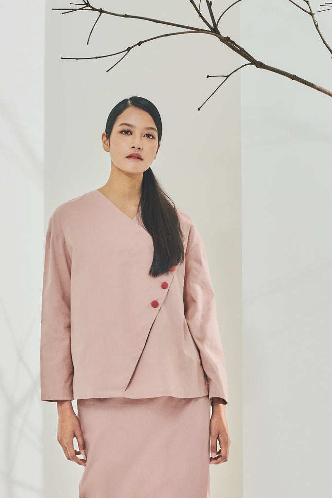 The Timur Women Wrapped Blouse - Dusty Pink