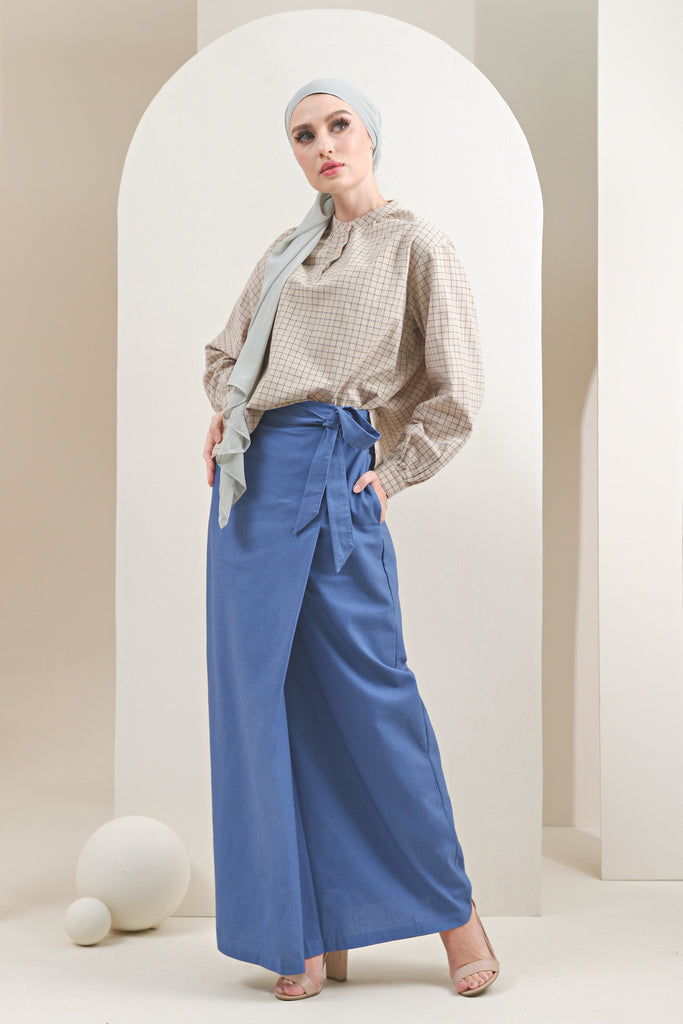 The Oasis Women Belted Skirt - Steel Blue