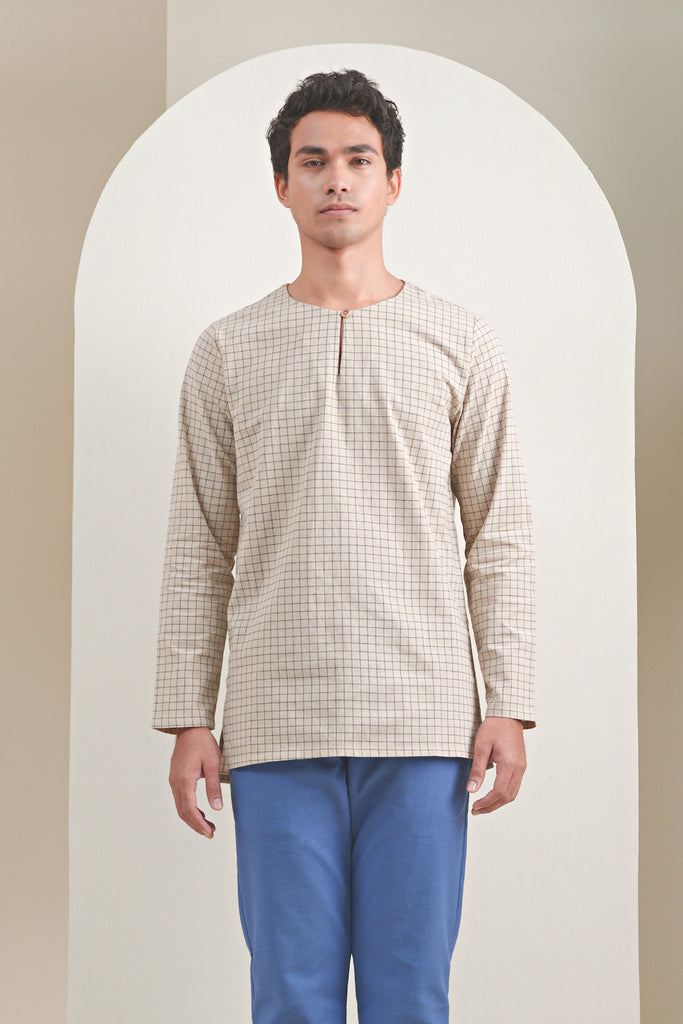 The Oasis Men Kurta - Checked Blue