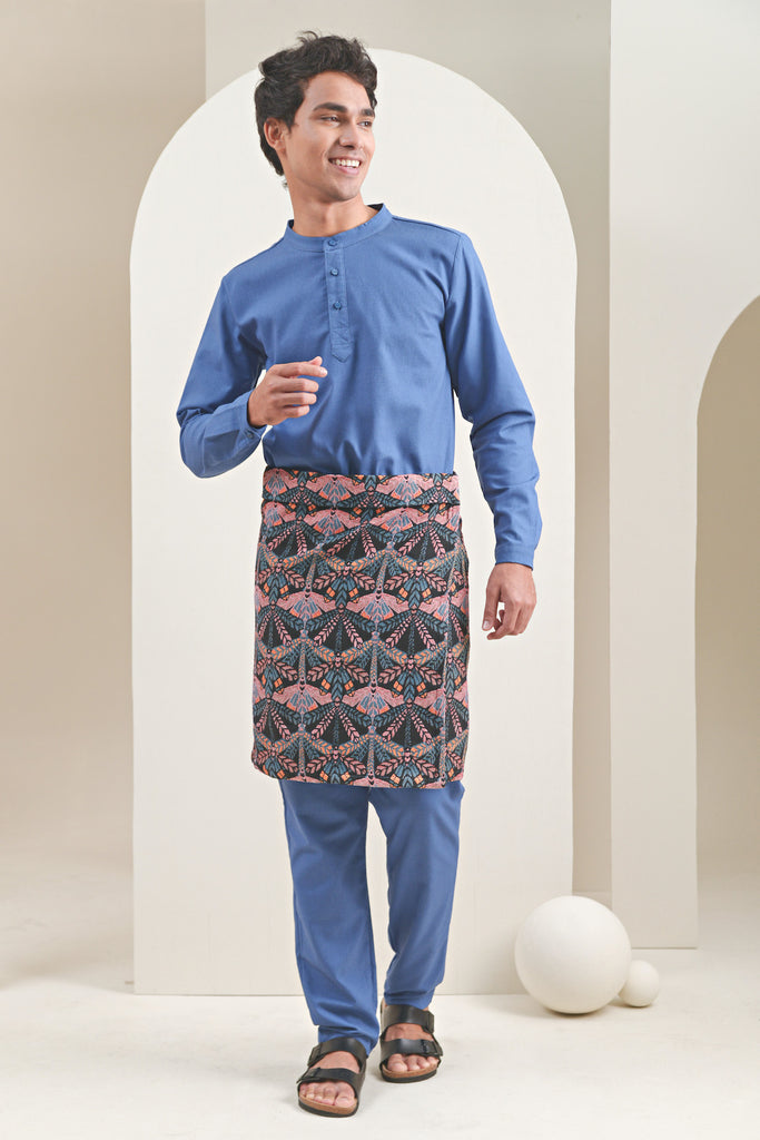 The Oasis Men Baju Melayu Shirt - Steel Blue