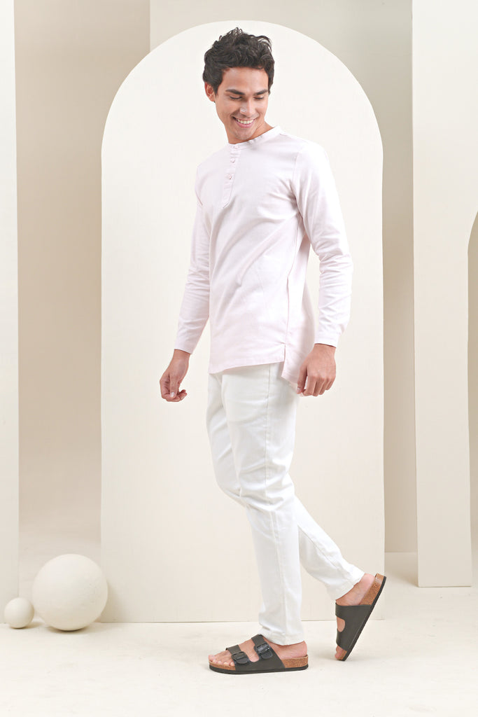 The Oasis Men Baju Melayu Shirt - Light Pink