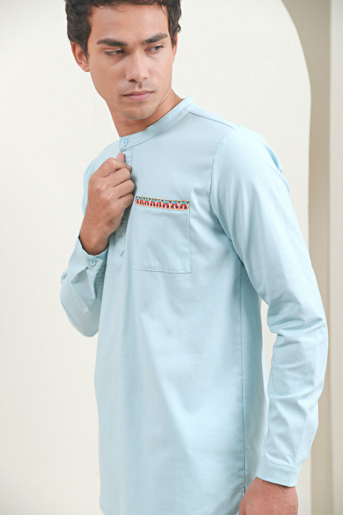 The Oasis Men Baju Melayu Shirt With Pocket - Light Blue