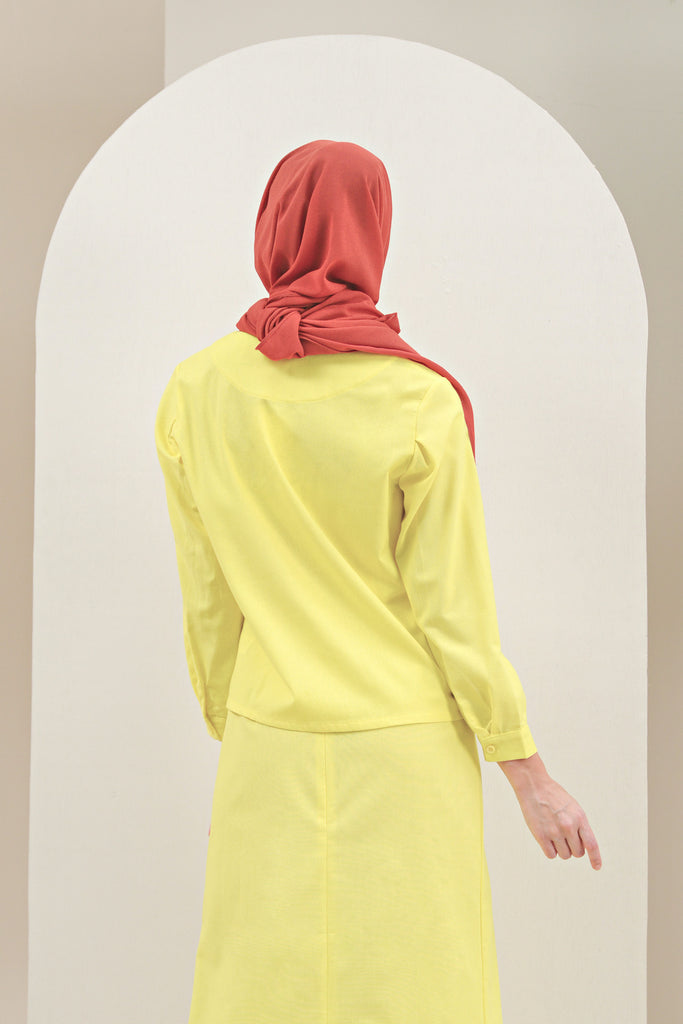 The Oasis Women Pleated Sleeve Blouse - Lemon Yellow
