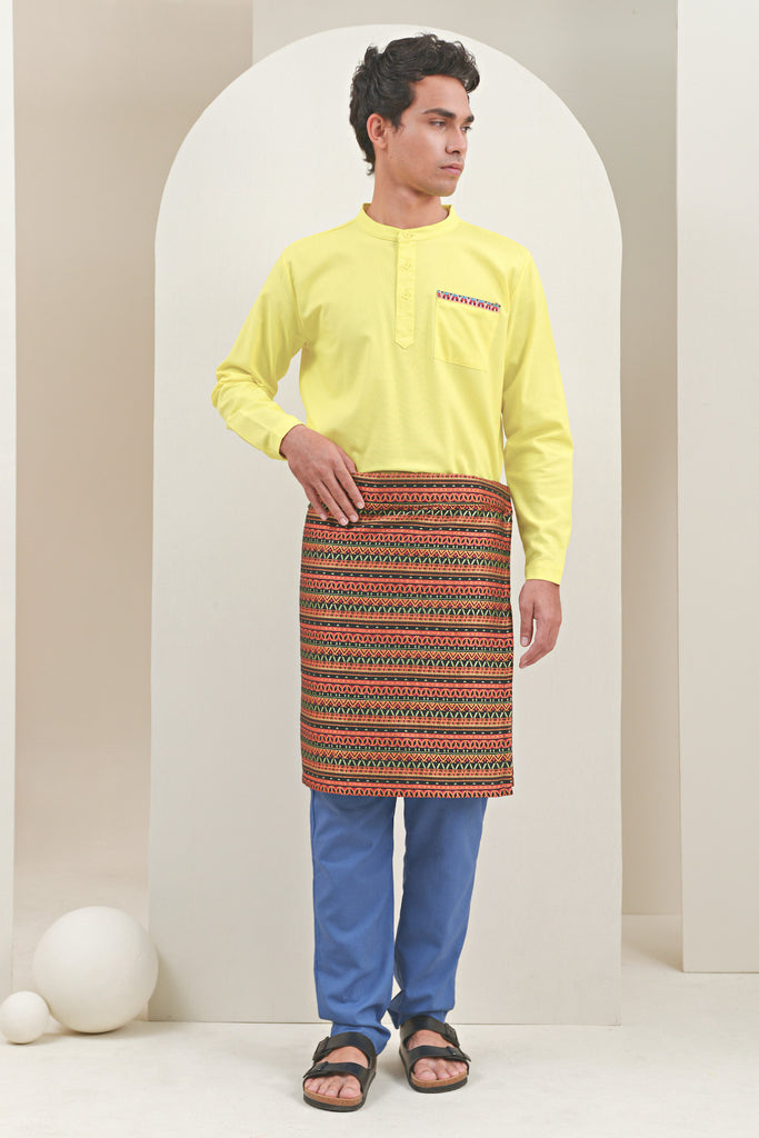 The Oasis Men Baju Melayu Shirt With Pocket - Lemon Yellow