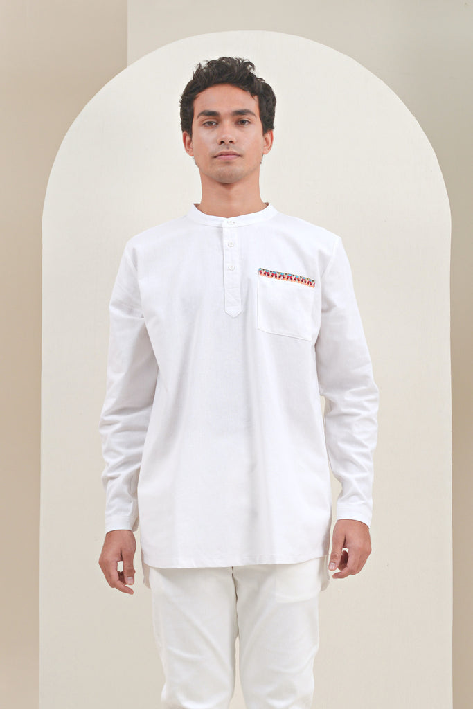 The Oasis Men Baju Melayu Shirt With Pocket - White
