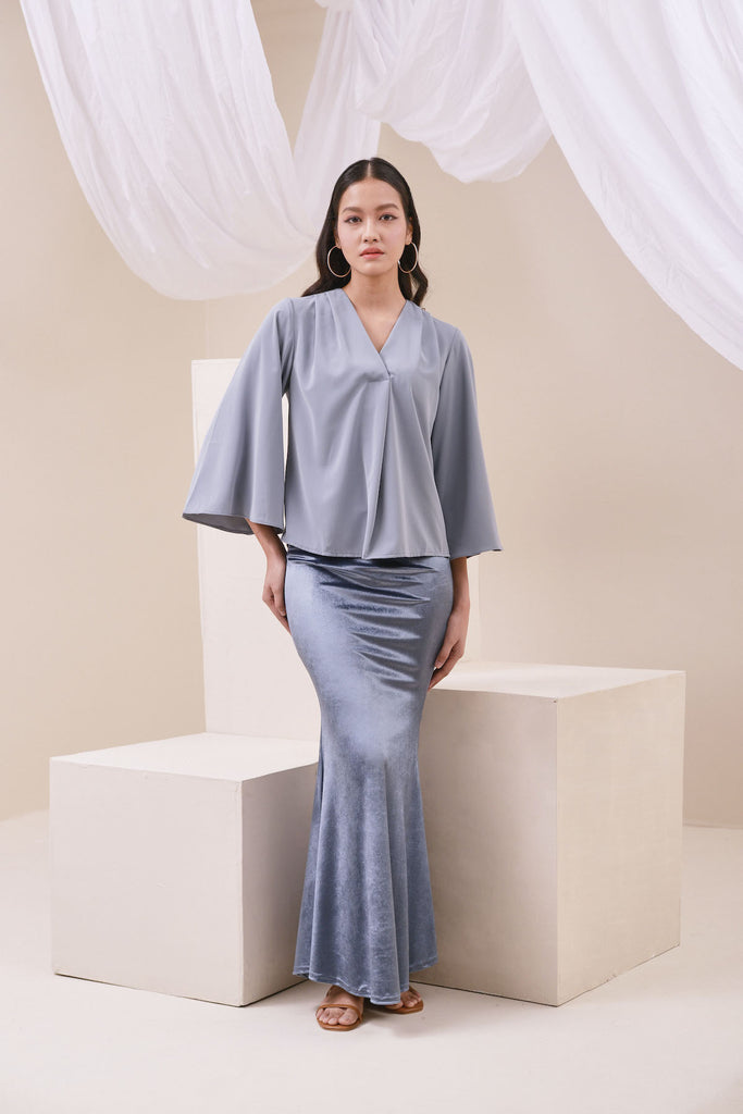 The Nari Women Mermaid Skirt - Light Pigeon Blue