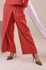 The Nari Women Overlay Trousers - Brown Red