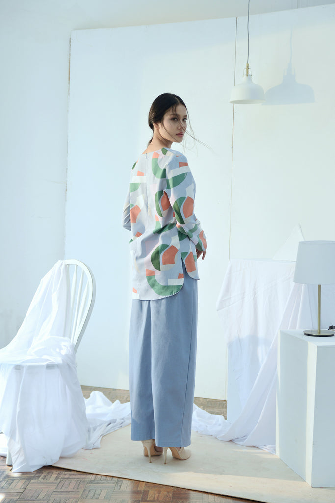 The Bangun Women Buttons Folded Skirt - Light Pigeon Blue