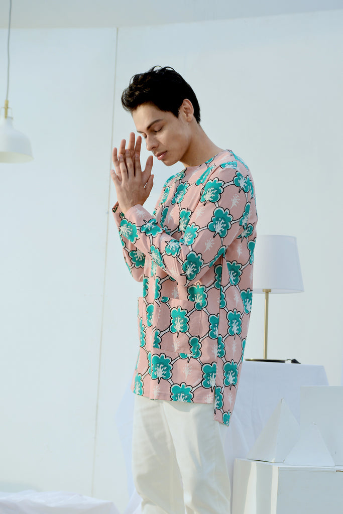 The Bangun Men Pair Pockets Kurta - Broccoli Print