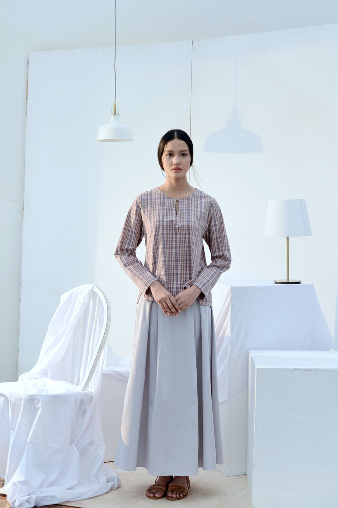 The Bangun Women Kurung Kedah Blouse- Checked Box
