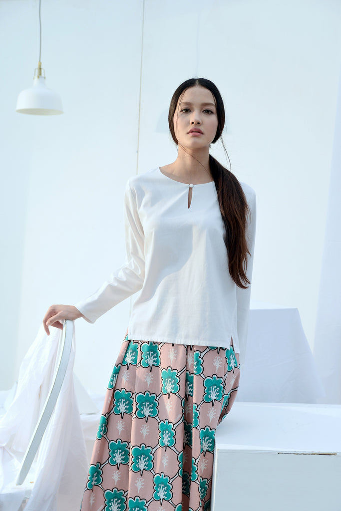 The Bangun Women Kurung Kedah Blouse - White