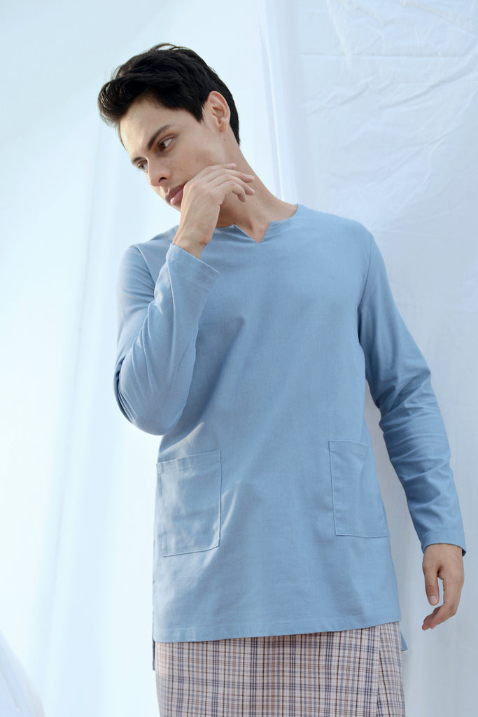 The Bangun Men Pair Pockets Kurta - Light Pigeon Blue