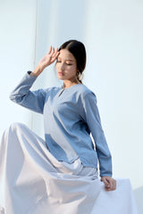 The Bangun Women Kurung Kedah Blouse - Light Pigeon Blue