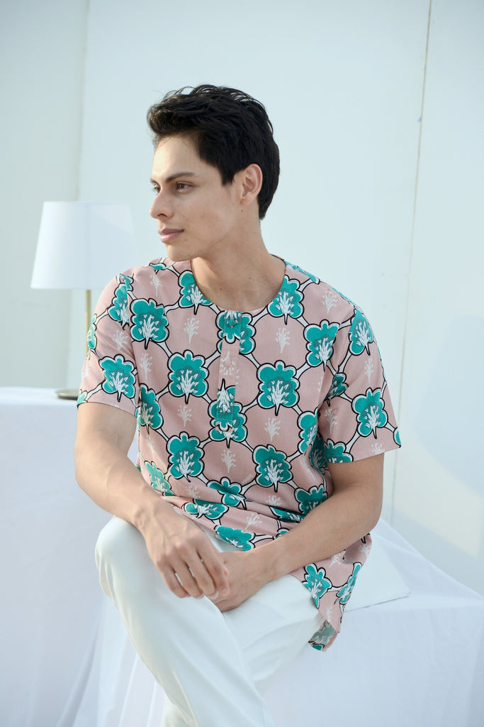 The Bangun Men Short Sleeves Shirt - Broccoli Print