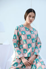 The Bangun Women Kurung Kedah Blouse - Broccoli Print