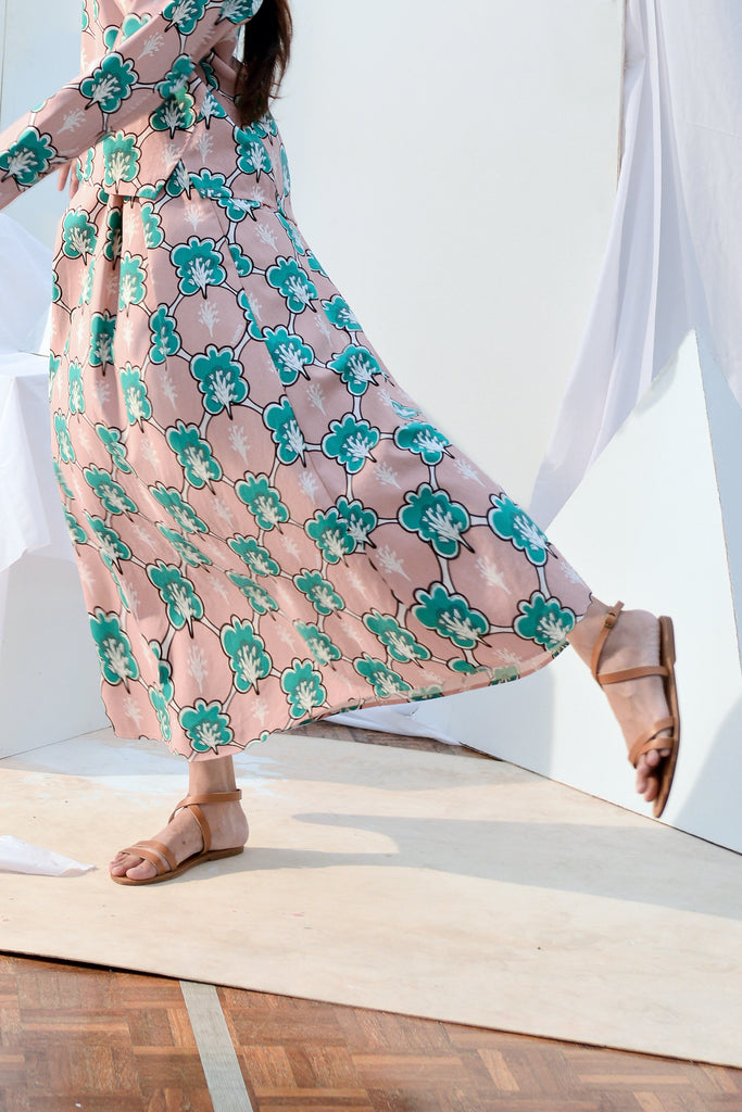 The Bangun Women A-Line Skirt - Broccoli Print