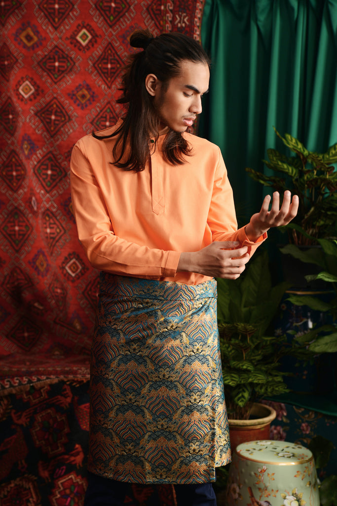 The Teratai Men Mandarin Kurta - Orange