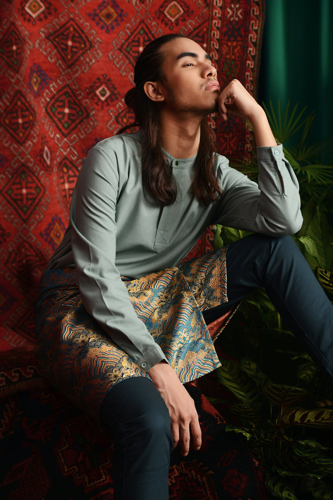 The Teratai Men Mandarin Kurta - Vegan Green