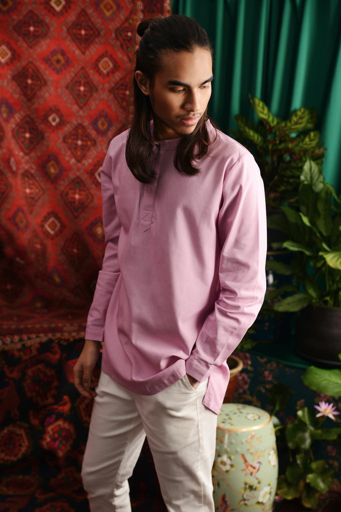 The Teratai Men Mandarin Kurta - Light Purple