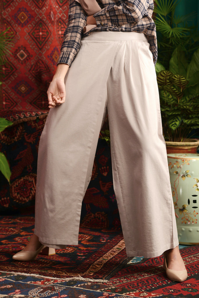 The Teratai Women Overlay Trousers - Light Warm Grey