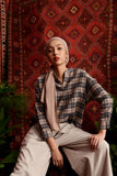 The Teratai Women Boxy Blouse - Checked Khaki