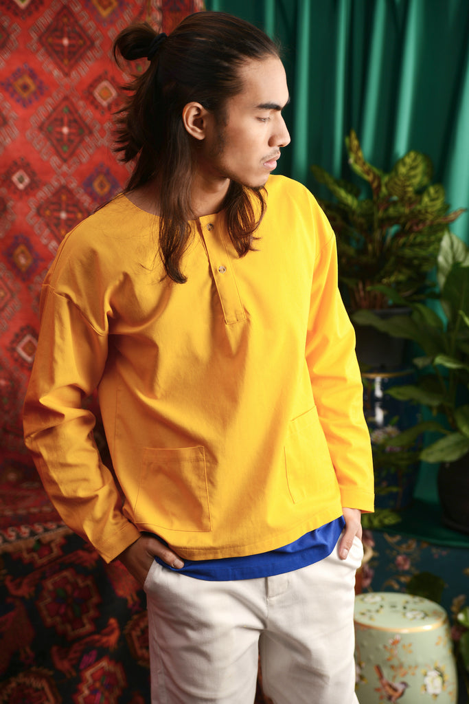 The Teratai Adults Unisex Mock Layer Top - Mustard