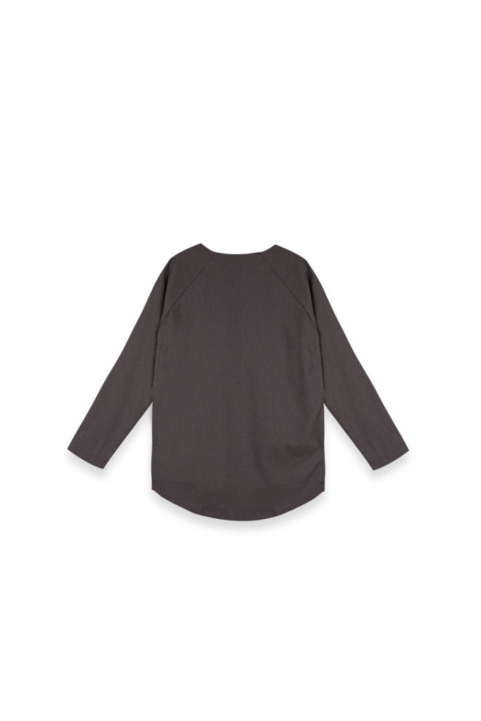 The Langit Women Raglan Sleeve Blouse - Dark Grey