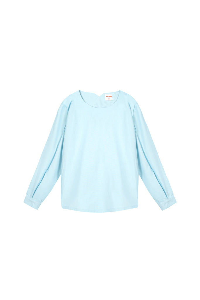 The Oasis Women Pleated Sleeve Blouse - Light Blue