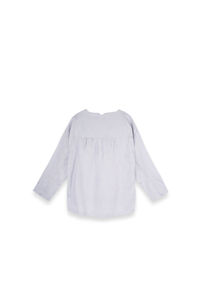 The Langit Women Origami Blouse - Light Pigeon Blue