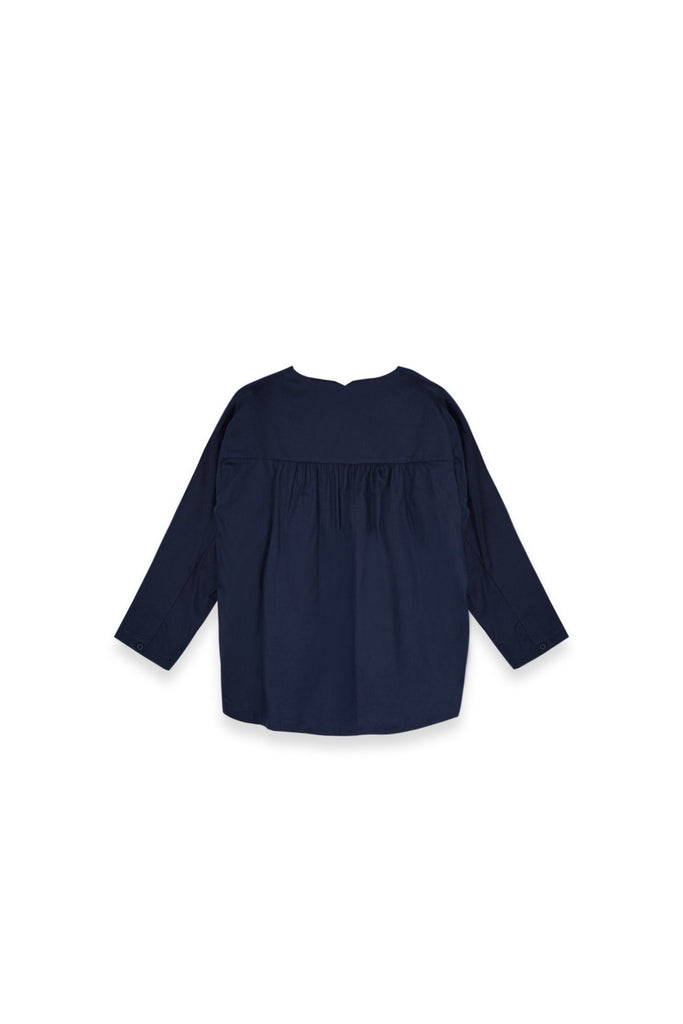 The Langit Women Origami Blouse - Navy Blue
