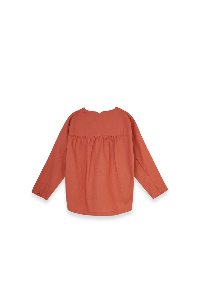 The Langit Women Origami Blouse - Terracotta