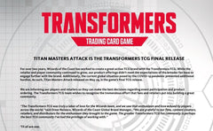 Another TCG down... Transformers TCG