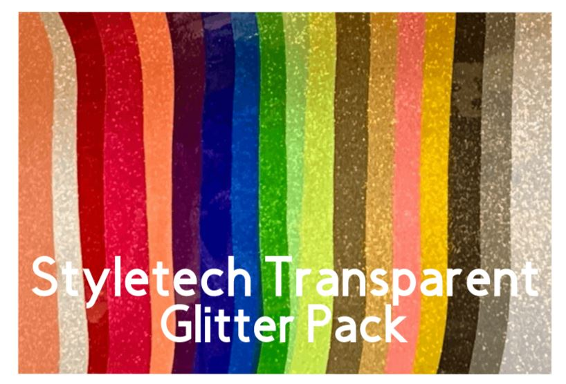 "Style Tech Transparent Glitter Adhesive Vinyl Pack of 19 - 6"" x12"" sheets"
