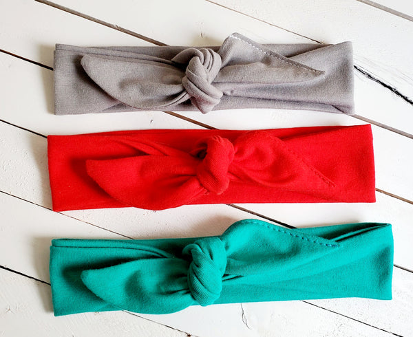 SET OF THREE TOP KNOT HEADBANDS (TEAL, RED, AND GRAY)
