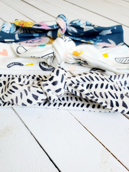 SET OF THREE TOPKNOT HEADBANDS (HAPPY COLLECTION)