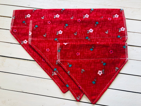 RED FLOWER DOG BANDANA