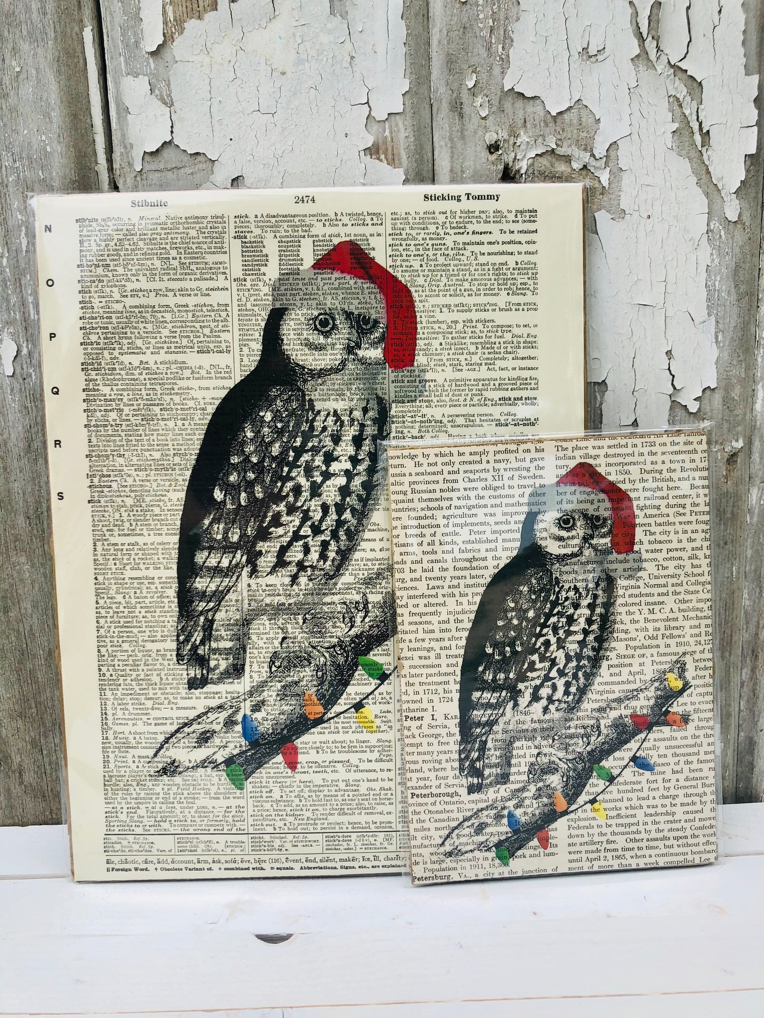 CHRISTMAS OWL DICTIONARY PRINT