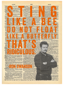 RON SWANSON STING LIKE A BEE QUOTE DICTIONARY PRINT