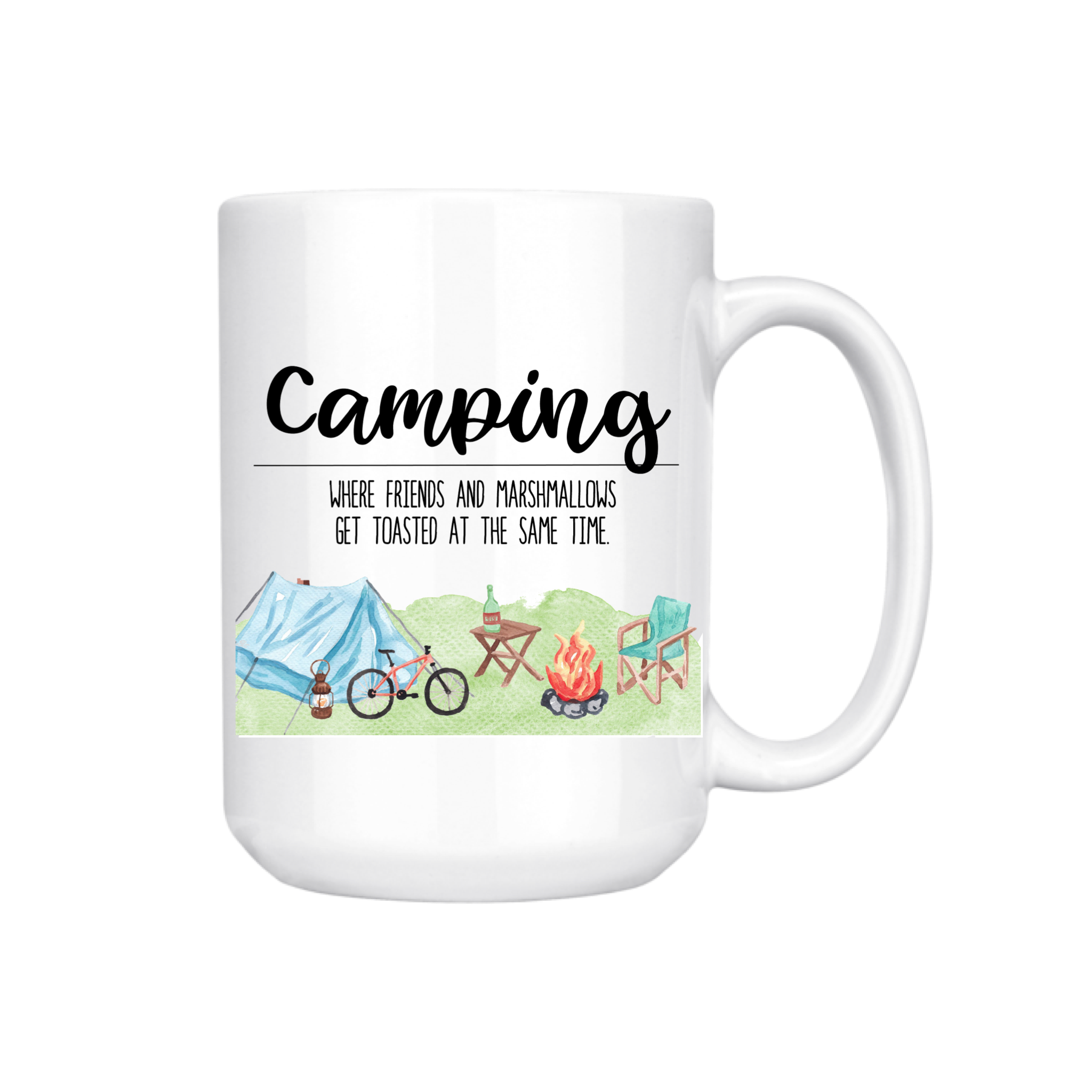 CAMPING WHERE FRIENDS GET TOASTED MUG (WHSL)