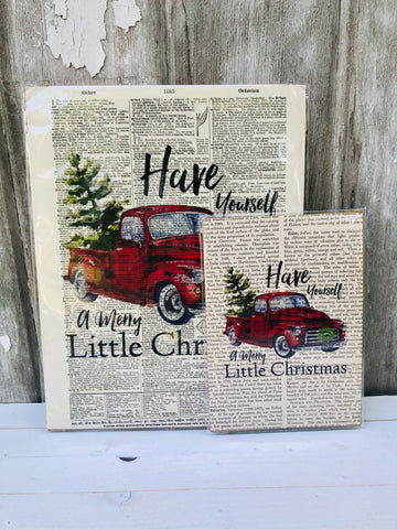 RED TRUCK CHRISTMAS DICTIONARY PRINT