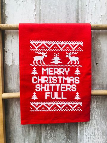 MERRY CHRISTMAS, SHITTER'S FULL TEA TOWEL